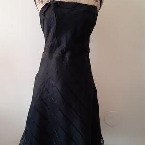 Express Strapless Dresswith Flare Flare Skirt